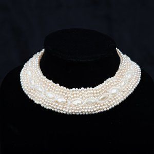 Vintage Beaded Faux Pearl Choker Collar Necklace